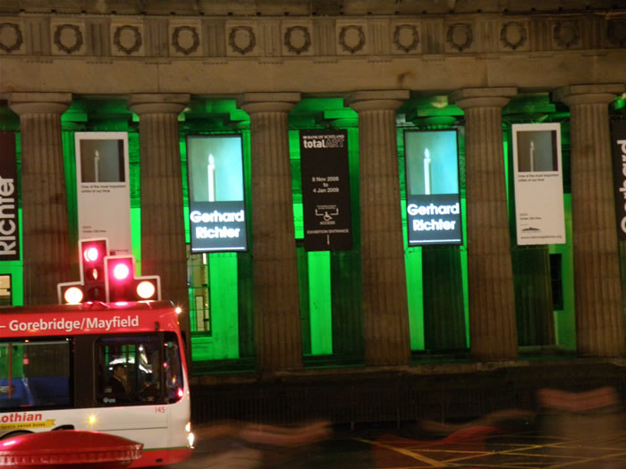 Projected Banners installed in The RSA on The Mound in Edinburgh