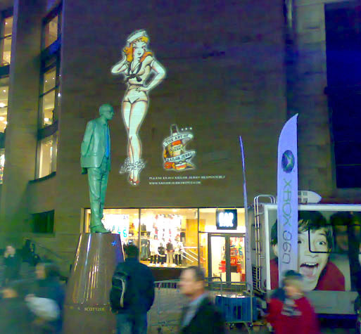 Outdoor image projection advertising events.